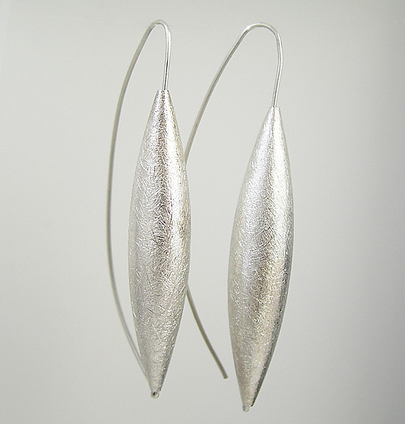 Long Silver Drop Earrings on Wire