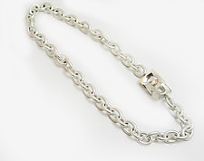 Silver Chain Necklace with Square Interlocking Clasp by Claudia Endler (Silver Necklace)
