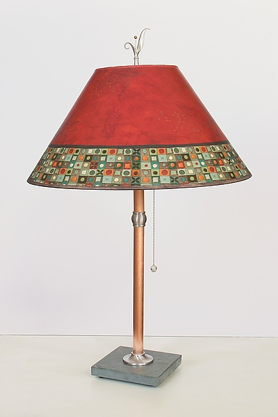 Copper Table Lamp with Large Conical Shade in Red Mosaic