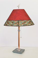 Copper Table Lamp with Large Conical Shade in Red Mosaic by Janna Ugone (Mixed-Media Table Lamp)