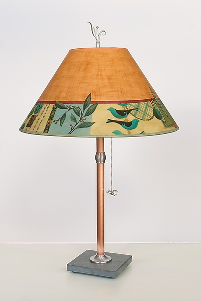 Copper Table Lamp with Large Conical Shade in New Capri Spice