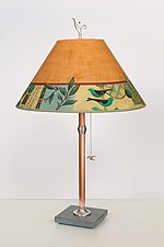 Copper Table Lamp with Large Conical Shade in New Capri Spice by Janna Ugone (Mixed-Media Table Lamp)