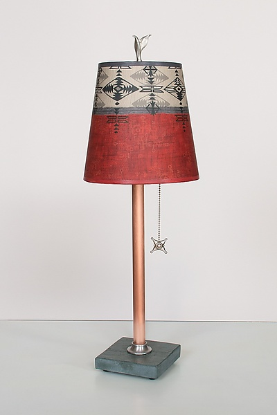 Copper Table Lamp with Small Drum Shade in Mesa