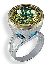 The Double Decker Ring Lemon Over Blue by Karina Mattei (Gold, Silver & Stone Ring)