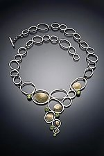 Open Pebbles Necklace by Lori Gottlieb (Gold, Silver & Stone Necklace)