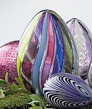 Multicolor Spring Cane Egg by Paul Lockwood (Art Glass Sculpture)