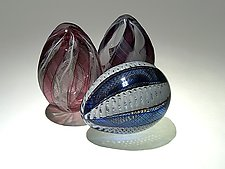 Zanfirico Eggs by Paul Lockwood (Art Glass Sculpture)