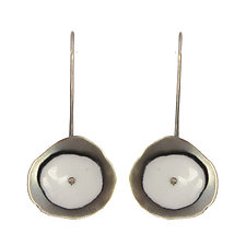 Tiny Flutter Earrings in White by Lisa Crowder (Enameled Earrings)