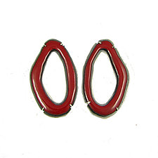 Elongated Rough Cut Earrings in Red by Lisa Crowder (Enameled Earrings)
