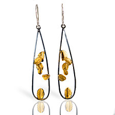 Long Black and Gold Open Desert Rose Earrings by Lori Gottlieb (Gold & Silver Earrings)