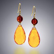 Gold Quartz and Garnet Earrings by Judy Bliss (Gold & Stone Earrings)