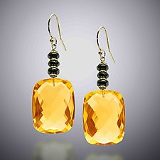 Gold Quartz Earrings by Judy Bliss (Gold & Stone Earrings)