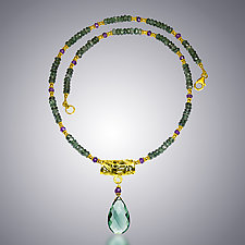Green Quartz and Amethyst Necklace by Judy Bliss (Gold & Stone Necklace)
