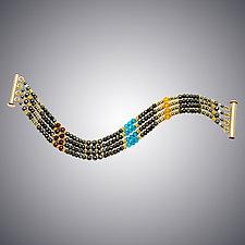 Pyrite, London Blue Quartz, Amber and Garnet Bracelet by Judy Bliss (Gold & Stone Bracelet)