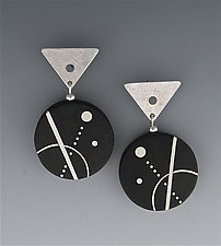 Line, Dot and Curve Ebony Earrings by Suzanne Linquist (Silver & Wood Earrings)