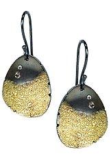 Petal Earrings with Diamonds by Jenny Reeves (Gold, Silver & Stone Earrings)