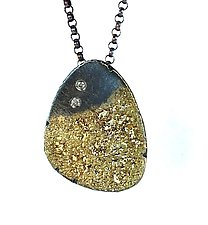 Petal Pendant with Diamonds by Jenny Reeves (Gold, Silver & Stone Necklace)