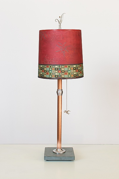 Copper Table Lamp with Medium Drum Shade in Red Mosaic