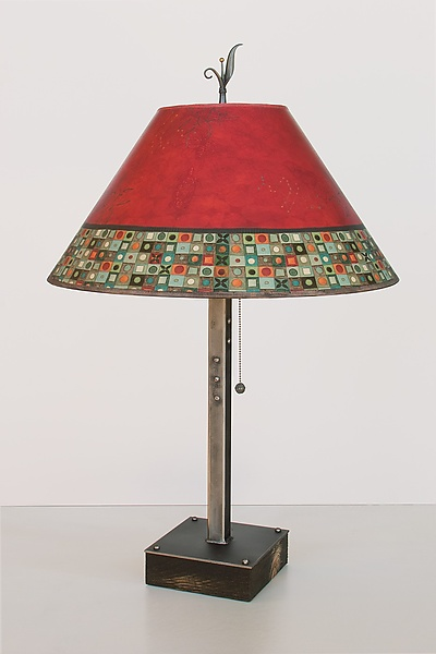 Steel Table Lamp on Wood with Large Conical Shade in Red Mosaic