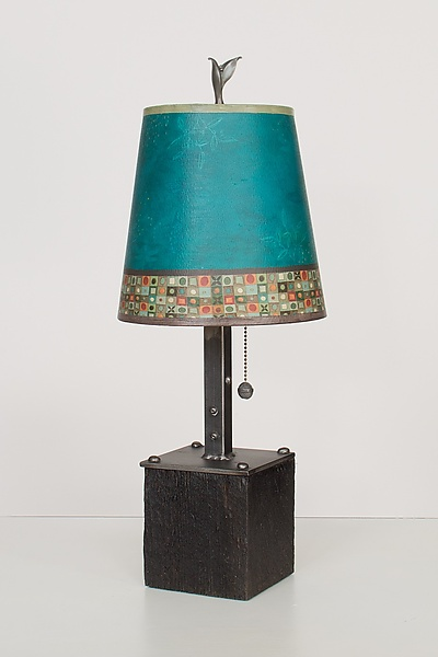 Steel Table Lamp on Wood with Small Drum Shade in Jade Mosaic