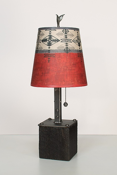 Steel Table Lamp on Wood with Small Drum Shade in Mesa