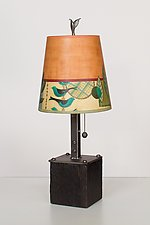 Steel Table Lamp on Wood with Small Drum Shade in New Capri Spice by Janna Ugone (Mixed-Media Table Lamp)