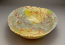 Bowl with Curry and Coral Leaves by Lauren Kearns (Ceramic Bowl)