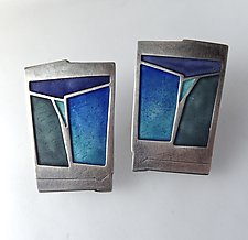 Monhegan Earrings No. 139 by Carly Wright (Enameled Earrings)