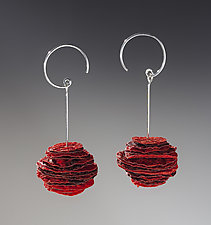 Joomchi Red Stack Earrings by Nancy Raasch (Silver & Paper Earrings)