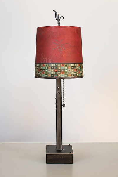 Steel Table Lamp on Wood with Medium Drum Shade in Red Mosaic