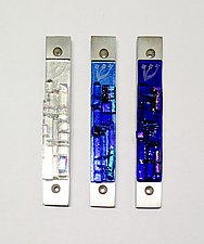 Western Wall Mezuzah in Cool Tones by Alicia Kelemen (Art Glass Mezuzah)
