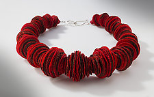 Joomchi Red Stacked Necklace by Nancy Raasch (Silver & Paper Necklace)