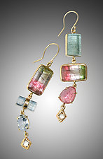 Raw Tourmaline Earrings by Russell Jones (Gold & Stone Earrings)