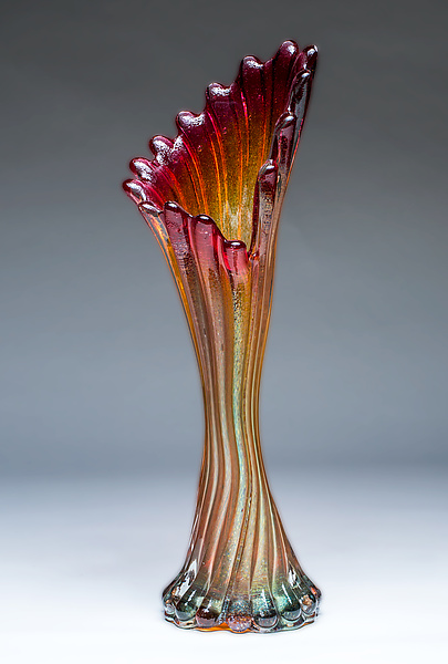 Corset Vase in Ruby Gold
