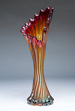 Corset Vase in Ruby Gold by Chris Mosey (Art Glass Vase)