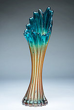 Corset Vase in Emerald Gold by Chris Mosey (Art Glass Vase)