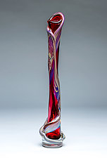 Tall Ivy Vine Vase in Ruby by Chris Mosey (Art Glass Vase)