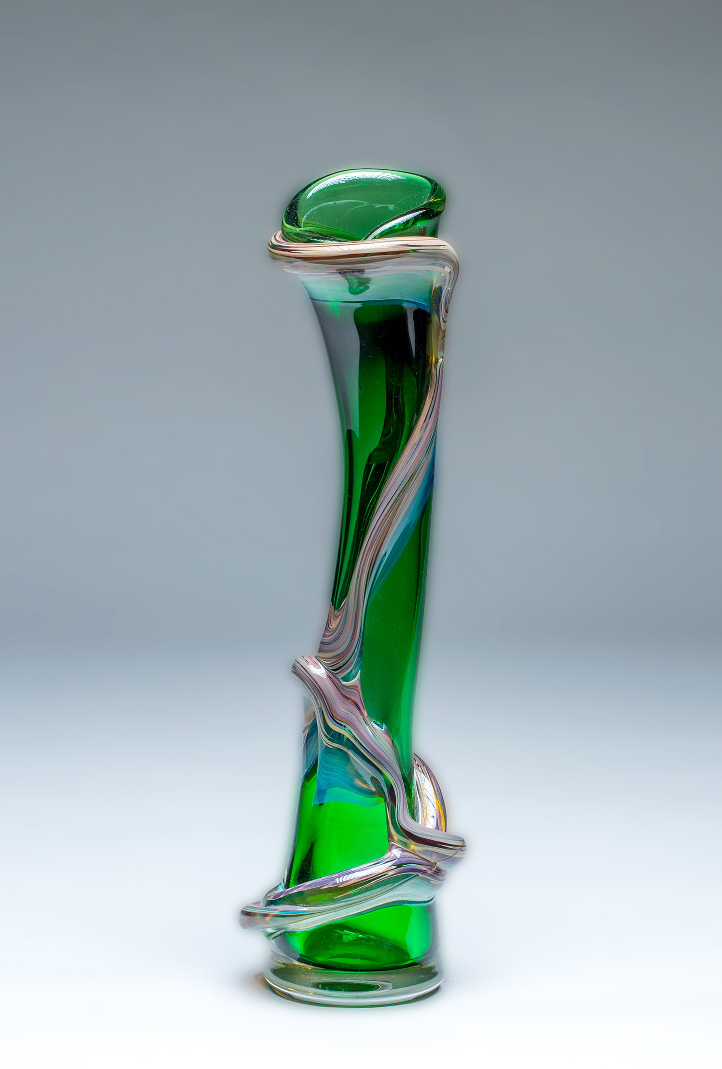 Ivy Vine Vase In Pine Green By Chris Mosey Art Glass Vase