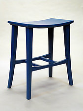 Sky Blue Stool by Cosmo Barbaro (Wood Stool)