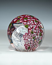 Cherry Blossom Paperweight by Shawn Messenger (Art Glass Paperweight)