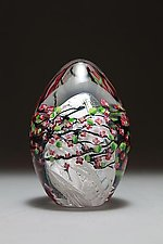 Cherry Blossom Egg by Shawn Messenger (Art Glass Paperweight)