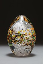 Forsythia Egg Paperweight by Shawn Messenger (Art Glass Paperweight)