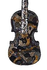 Metallic Violin by Nancy Pollock (Mosaic Sculpture)