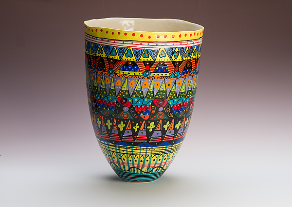 Multicolored Tall Vase