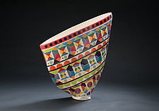 Multicolored Sail Vase by Jean Elton (Ceramic Vase)