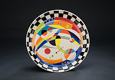 Multicolored Platter with Patterned Frame by Jean Elton (Ceramic Vessel)
