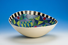 Multicolored Elliptical Bowl with Patterned Edge by Jean Elton (Ceramic Vessel)
