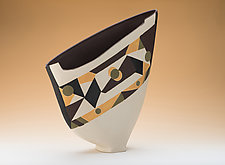 Multicolored Sculpted Sail Vase by Jean Elton (Ceramic Vase)