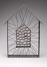 House with Red Scrolls by Ken Girardini and Julie Girardini (Metal Wall Sculpture)