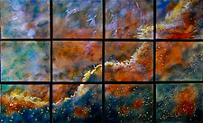Swan Nebula in Twelve Panels by Cynthia Miller (Art Glass Wall Sculpture)